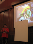 "Bunky Echo-Hawk in the midst of his presentation with his piece ""If Yoda Were Indian, He'd Be Chief""."